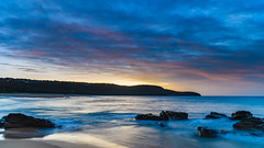 Dawn Seascape and Headland (Merrillie) Tags: daybreak sunrise cloudy australia nsw centralcoast clouds sea newsouthwales rocks earlymorning morning water landscape ocean nature sky waterscape coastal seascape outdoors killcarebeach dawn coast killcare waves