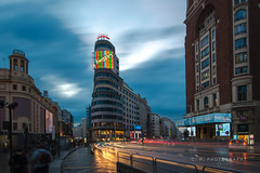 Schweppes Corner - Madrid, Spain (www.caseyhphoto.com) Tags: d800 europe madrid spain schweppes sign lights corner granvia urban cars calle street rain city travel traveling traveler traveller travels traveled adventure adventurer adventuring explore explorer exploring holiday vacation wanderlust wandering tourism tourist iberia iberian capital nikon nikkor 1635f40 long exposure slow shutter speed culture cultura cultural blue hour coches aventura architecture architectural architectuur arquitectura buildings ciudad españa carrion