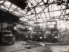 South Croydon bus garage WW2 bomb damage ( 1 ). (Ledlon89) Tags: croydon busgarage southcroydon lt lte lptb londontransport ww2 bomb damage bombdamage wartime war london bus bsues londonbus londonbuses oldlondon