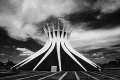 Catedral Metropolitana de Brasília (mara.arantes) Tags: cathedral church city monochrome architecture arquitetura brasília igreja lines pb bw sky