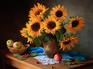 Still life with a bouquet of sunflowers