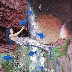 Klein Blue Falls (Deborah McMillion) Tags: digitalart dreams mobiledigitalart surrealism sketchbook stories surrealdreams mermaid yvesklein leap blue ipad iart ipadpro contemporaryart fish grandcanyon hotelmidnight journey orbiting popsurreal postcards waterspout