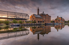 Friar Mills Sunrise 2 (John__Hull) Tags: buildings canal grand union leicester uk england waterscape friar mills mooring sunrise clouds sky reflection sunlight shadow nikon d7200 sigma 1020mm