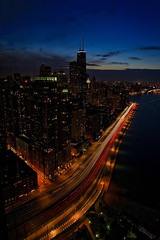 The View from Lake Point Tower, Chicago (Symbiosis) Tags: viewfromlakepointtower chicago navypier fireworks fireworksshow lakeshoredrive lakemichigan lakepointtower chicagoil skyline skyscrapers cityscape city aerialview ferriswheel bigwheel