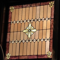 Maywood, IL, Historic House Walk, Jacob Bohlander House, 316 N. 4th Ave., Stained Glass Window in Stairwell (Mary Warren 11.2+ Million Views) Tags: maywoodil housewalk historic glass window stainedglass geometric