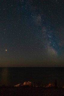 Milky Way with mars to the left and Saturn sat in the Milky Way itself.
