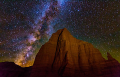 Temple of the Moon, Capitol Reef National Park, Utah (Douglas Gray) Tags: capitol reef temple moon milky way astroscape stack stacking sequator night national park astro templeofthemoon astrophotography stars low level lighting