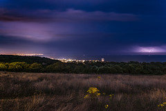 Purple skies (Chipyluna) Tags: lightning storm sky clouds purple blue white nature weather trees field grass flowers town eastbourne view landscape england uk nikon nikond5600 d5600 sigma