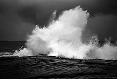 breaking wave, Sydney coast  #441 (lynnb's snaps) Tags: 2013 35mm d76 tx trix xa bw beach clouds film landscape nature rangefinder waves ocean coast dramatic breakingwave rocks sydney australia olympusxa kodaktrix400bwfilm iso320 kodakd76developer fzuiko35mmf28 rangefindercameras rangefinderphotography dramati