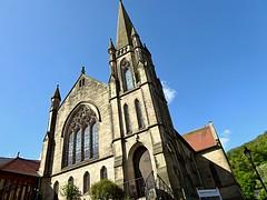 Church in Llangollen (lesleydugmore) Tags: uk wales northwales llangollen europe britain church window spire tower door sky blue gren