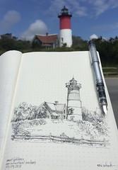 Nauset Beach Lighthouse - Cape Cod (schunky_monkey) Tags: fountainpen penandink ink pen pleinair illustration art drawing draw journal sketchbook sketching sketch beacon water ocean coastline capecod nauset nausetbeach lighthouse