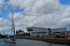 Nasdaq enters Canning Dock (James O'Hanlon) Tags: clipperrace clipper race round world yacht roundtheworldyachtrace 2018 river mersey rivermersey liverpool uk canning dock albert royal albertdock canningdock sailing sail presentation confetti fireworks garmin daretolead dare lead great britain greatbritain hotelplannercom hotel planner liverpool2018 nasdaq psp logistics psplogistics qingdao sanyaserenitycoast sanya serenity coast unicef visitseattle visit seattle yachts vessel