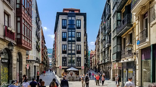 Captivating street in the old district of Bilbao