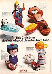 Vintage AVON Christmas Magazine Ad - 1971 (hmdavid) Tags: vintage 1970s magazine ad advertisement mccalls avon christmas peanuts snoopy smallworld disneyland robottle beaver children bath toys soap shampoo bubblebath