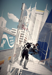 a feinting, a slip, a kickin' from the hip (Rakkhive) Tags: mirrorsedge parkour faith rooftops skyscrapper buildings glass architecture screenshots gamephotography screenarchery gedosato
