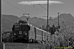 Engadin Regio (Don Gatehouse) Tags: switzerland suisse schweiz svizzera eisenbahnen graubünden rhätischebahn rhb metregauge engadinvalley zug vlak vonat treno classge44 627 reichenautamins samaden regio r1949 pontresina scuoltarasp