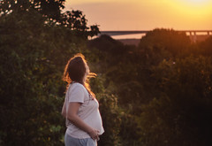 I saw her standing there, enjoying the sunset with her baby. (Inka56) Tags: isawherstandingthere flickrfriday pregnantwoman sunset goldenhour 7dwf