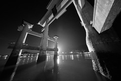 Infrared nightmares (KumiMajava) Tags: japan hiroshima torii otorii miyajima night dark water