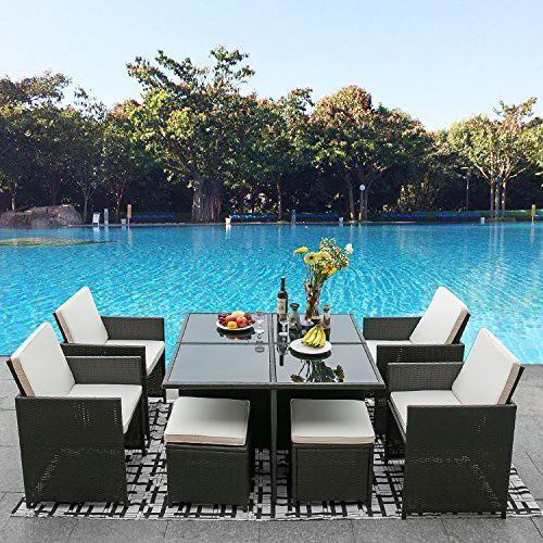 Leisure Zone 9 Piece Outdoor PE Rattan Sofa Set Wicker Patio Dining Set Garden Lawn Furniture Set (dark brown) For Sale