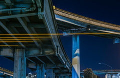 san bruno avenue flyover (pbo31) Tags: bayarea california nikon d810 color night dark black march 2018 boury pbo31 urban sanfrancisco city lightstream motion traffic roadway bridge somisspo centralfreeway 80 101 overpass steel support soma blue
