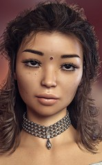 Exotic Model : Yasmine (foto_morgana) Tags: 3drendering 3dcharacters 3dhumanmodels 3dmodeling computergeneratedimagery unbiasedgprendering nvidiairayengine render rendering 3dimensionalart dazstudio49 3dsoftware photorealisticimagery on1photoraw2018 cgi imagery digitalart illusions personality character physiognomy portrait portraiture headshot fullfaceview virtualart virtualworld girl cutegirl prettygirl topmodel supermodel face lady stunningbeauty sultrygirl gorgeousgirl exoticbeauty stare eyelevelview attractivegirl sensual freckledskin freckledface tawny freckles longhair longhaired curls hairstyle bigeyes sultryeyes photoshoot amazingmodel talent mannequin posing necklace virtualwoman indiangirl