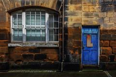 L (lowooley.) Tags: guisborough northeastengland door stone wall window blue blinds l