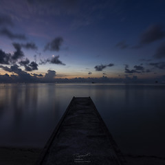 When the sun and moon meet (tapanuth) Tags: jetty pier sunset sunrise dusk dawn twilight water longexposure sea bluehour ocean landscape seascape scenery moon sun tranquil nature view travel morning tropic beach horizon location vacation peace space indonesia