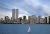 NYC c.1997-2001 13 (David Pirmann) Tags: nyc newyorkcity foundphoto hudsonriver harbor sailboat worldtradecenter wtc twintowers worldfinancialcenter wfc skyline batteryparkcity sunset