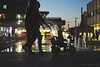 Family Time (Tanjica Perovic) Tags: qualitytime walk city night lights sillhouettes toddler bike child fountain pirot serbia bluehour people three evening chill family downtown walking relax backlight lamps streetlamps bokeh smarttrike tricycle stroller kid ride wheels pushing