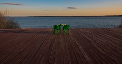 Tranquility (free3yourmind) Tags: relax calm tranquility table coffee cafe cake chairs alone two water sea jetty simple braslaw bralsav belarus fortwo
