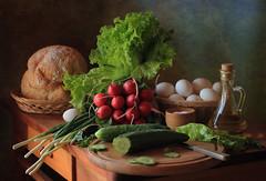 Still Life with Vegetables (Tatyana Skorokhod) Tags: stilllife vegetables radishes cucumbers eggs salad food flickrdiamond