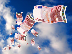 Euro money flying (cfdtfep) Tags: photo photograph picture image stock horizontal images photos pictures photographs illustration illustrations money currency business finance financial capital fund deposit gain gains earning earn return rich save saving euro risk risks fortune blue background concept conceptual bill paper currencies europe jeans cloth clothing
