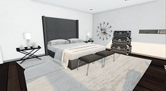 Client Work - Cabria (brinks_lemmon) Tags: bed pillow duvet throw blanket rug carpet lamp table nightstand flower flowers plant plants clock book design chest trunk travel luggage art time