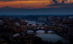 View of Florence from Piazza Michaelangelo 5-1054 (jdl1963) Tags: travel italy florence firenze tuscanny sunset twilight dusk night bridge river arno ponte vecchio