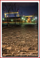 Street of Giants (Deek Wilson) Tags: belfast harland wolff hw samson goliath belfastskylinesciencepark titanicquarter street cobblestones night nightphotography