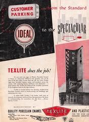 Sot Oct 52 Spectacular back cover (hmdavid) Tags: vintage sign texlite porcelain ad advertisement signsofthetimes magazine 1950s midcentury roadside advertising