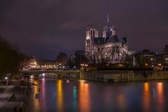 La Seine (karinavera) Tags: city longexposure night photography cityscape urban ilcea7m2 notredame church paris seine