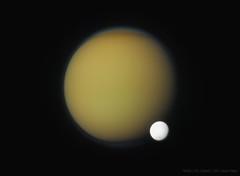 Titan and Enceladus (Lights In The Dark) Tags: titan moon enceladus cassini nasa space