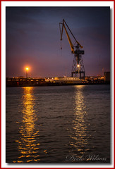Just Waiting (Deek Wilson) Tags: belfast portofbelfast belfastlough northernireland water ripples heavyindustry nightphotography night crane