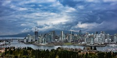 Written in the clouds 💖 (Christie : Colour & Light Collection) Tags: falsecreek vancouver bc canada burrardbridge overcast cloudy view mountains downtown skyscrapers sky moody mood atmospheric beautifulbritishcolumbia buildings cityscape city cityofvancouver history canadianhistory trees