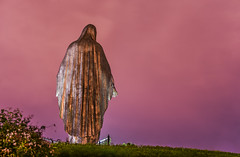 our lady, queen of peace (pbo31) Tags: bayarea california southbay santaclaracounty nikon d810 color april spring 2018 boury pbo31 night dark art santaclara religion stmary peace sculpture roman catholic parish diocese sanjose mist fog back pink church