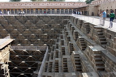 chand baori stepwell (2) (kexi) Tags: rajasthan india asia abhaneri chandbaori steep steps well ancient old geometry pattern people tourists deep canon february 2017 stone architecture instantfave stepwell wow