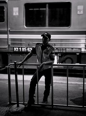 K1 185 62 (rizqyunggul) Tags: amateur indonesia publicplace candid guard urban people streetphotography silhouette blackwhite worker station
