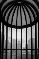 4/365 - Not a birdcage... (Spannarama) Tags: 365 january blackandwhite stairwell windows framed view stpaulscathedral stgilescripplegate barbican barbicancentre london uk