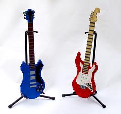Guitars (TFDesigns!) Tags: lego lug steel city library display guitar fender gibson