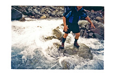 Crossing the White River (jasoux) Tags: tramping trek outdoors wilderness river rocks arthurspass nz newzealand backpack hiking nature hike climbing whiteriver mountain alpine riverbed candid