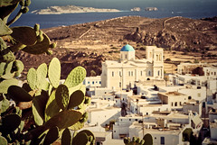 Kimolos (jimiliop) Tags: kimolos island view fromabove greekislands summer cyclades church village picturesque cactus sea green white yellowish panorama