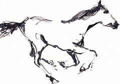 Horse Study - Gallop [20180324]-2 (rodneyvdb) Tags: abstracted animal art blackandwhite bw contemporary drawing explore expression expressionism illustration horse horseart horseriding ink modern painting