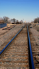 Blue Steel (dssken) Tags: ifttt 500px dotstarstudios railroad leading lines tracks blue color reflected exploration midday empty small town