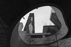 Spiral up (modestmoze) Tags: chicago usa illinois city architecture 2018 february winter lines black white blackandwhite trees baretrees spiral curve round tall buildings skyscraper highriser view interesting outside outdoors day sky clouds new windows